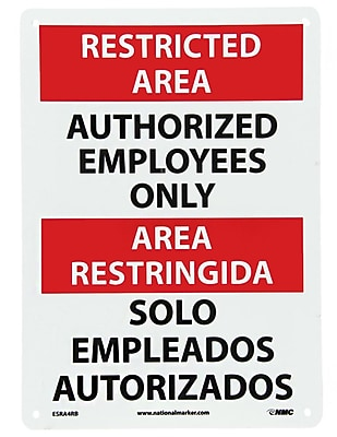 Restricted Area, Authorized Employees Only Bilingual, 14X10, Rigid Plastic
