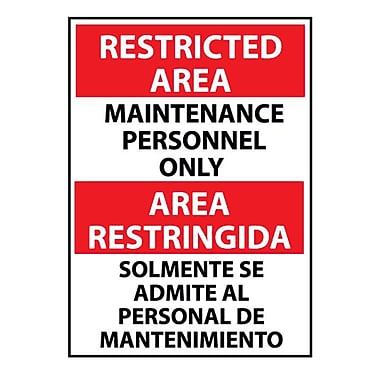 Restricted Area, Maintenance Personnel Only, Bilingual, 14X10, Rigid Plastic