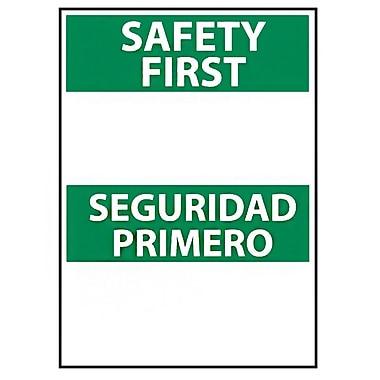 Safety First Seguridad Primero Blank, Bilingual, 14X10 Rigid Plastic