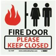 "Fire, Fire Door Please Keep Closed, 7"" x 7"", Adhesive Vinylglow"