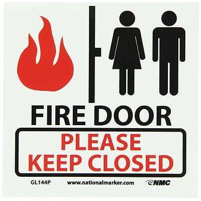 Fire, Fire Door Please Keep Closed, 7X7, Adhesive Vinylglow