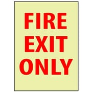 Fire, Fire Exit Only, 14X10, Adhesive Vinylglow
