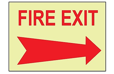 Fire, Fire Exit, Right Arrow, 10X14, Adhesive Vinylglow