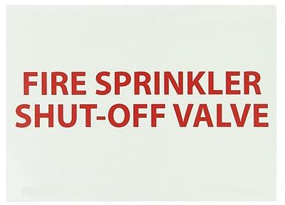 Fire, Fire Sprinkler Shut-Off Valve, 10X14, Adhesive Vinylglow
