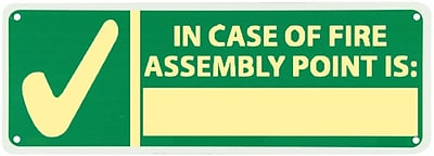 In Case Of Fire Assembly Point Is, 5X14, Adhesive Glow