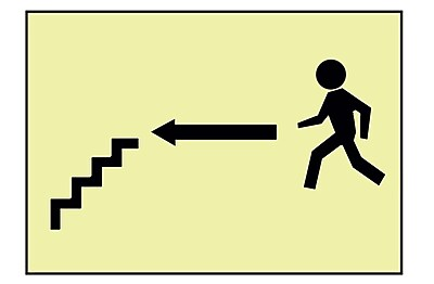 Stairs Left Arrow Man Graphic, 7X10, Adhesive Glow