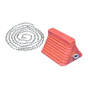 "Mutual Industries Urethane Wheel Chock With Chain, 11-3/8"" x 8-1/4"" x 7-5/8"", Orange (14644-45)"