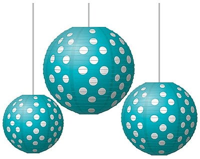 Teacher Created Resources Round Paper Lantern, Teal Polka Dots (TCR77103)