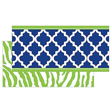 Teacher Created Resources Double Sided Border, Navy/Lime Wild Moroccan, Infant - 12th Grade (TCR77095)