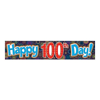 Teacher Created Resources Banner, Fireworks Happy 100th Day, Kindergarten - 12th Grade (TCR5516)