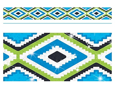 Trend Enterprises® Toddler - 12th Grade Aztec Bolder Border, Blue Sparkle Plus, 10/Pack