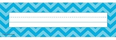 Teacher Created Resources Flat Name Plate, Aqua Chevron, All Grades (TCR5527)