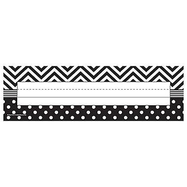 Teacher Created Resources Name Plate, Black & White Chevrons and Dots, All Grades (TCR5549)