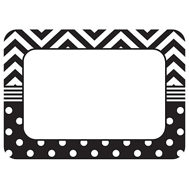 Teacher Created Resources Name Tags/Label, Black & White Chevrons and Dots, All Grades (TCR5548)