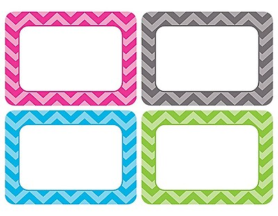 Teacher Created Resources All Grade Name Tags/Label, Chevron, Multi-Pack, 36/Pack