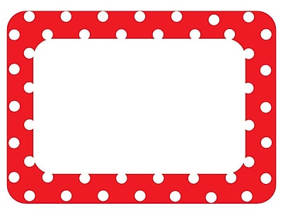 Teacher Created Resources Name Tags/Label, Red Polka Dots 2, All Grades (TCR5539)