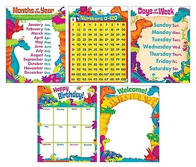 Trend Enterprises® Classroom Basics Dino-Mite Pals™ Learning Charts Combo Pack, Grade PreK - 3rd