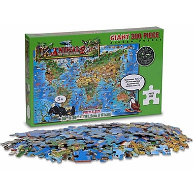Round World Products Dinos Childrens Jigsaw Puzzle, Animals Of The World