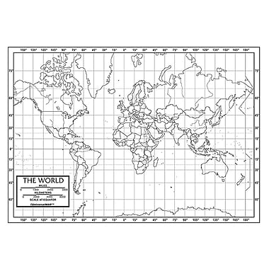 Kappa Map Group Paper World Outline Map, 50/Pack