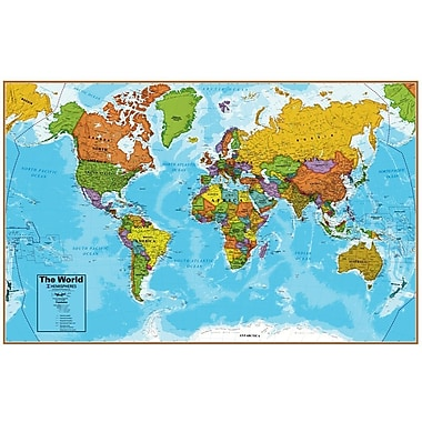 Round World Products Hemispheres® Laminated U.s./world Map, 2/Pack