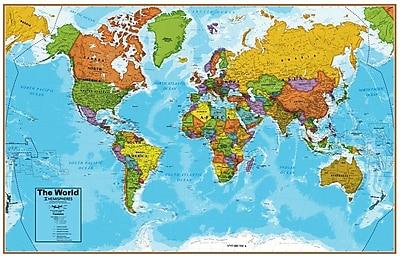 Round World Products Hemispheres® Laminated U.S./World Map, 2/Pack (RWPHMB02PK)