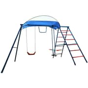 Ironkids Metal Challenge 100 Swing Set with Ladder Climber and UV Protective Sunshade