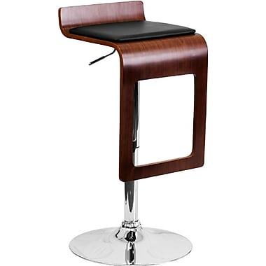 Flash Furniture – Tabouret de bar de 14 x 17 po avec siège en vinyle noir et cadre en chute, hauteur réglable, noyer