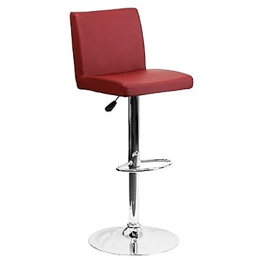 Flash Furniture – Tabouret de bar ajustable en vinyle et à pied chromé, 15 1/2 x 18 1/2 po, bourgogne