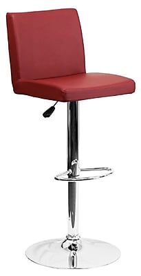 "Flash Furniture 15 1/2"" x 18 1/2"" Vinyl Adjustable Height Bar Stool W/Chrome Base, Burgundy"
