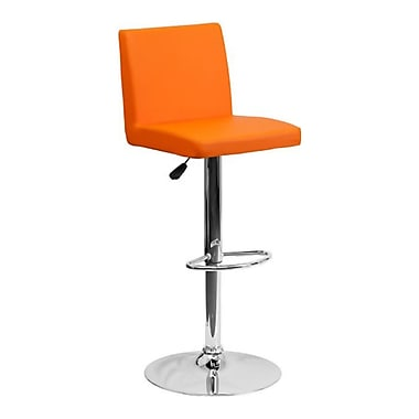 Flash Furniture – Tabouret de bar de 15 1/2 x 18 1/2 po en vinyle avec base chromée, hauteur réglable, orange