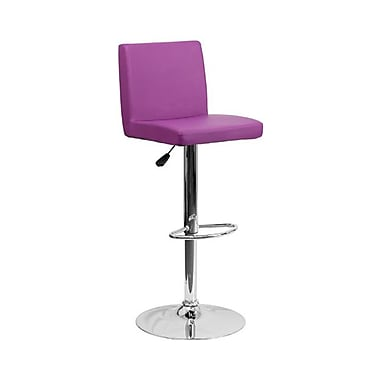 Flash Furniture – Tabouret de bar de 15 1/2 x 18 1/2 po en vinyle avec base chromée, hauteur réglable, violet