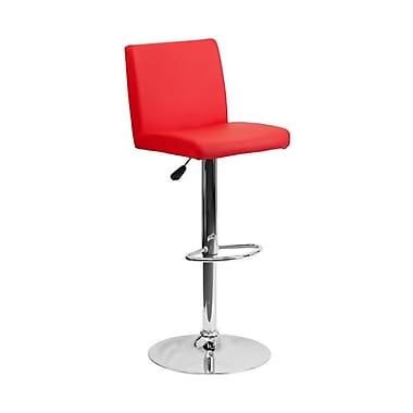 Flash Furniture – Tabouret de bar de 15 1/2 x 18 1/2 po en vinyle avec base chromée, hauteur réglable, rouge