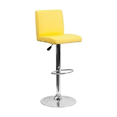 Flash Furniture – Tabouret de bar de 15 1/2 x 18 1/2 po en vinyle avec base chromée, hauteur réglable, jaune