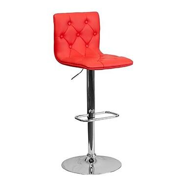 Flash Furniture – Tabouret de bar de 15 1/2 x 18 po en vinyle avec base chromée, hauteur réglable, rouge