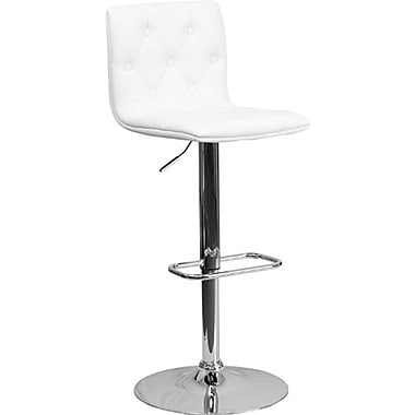 Flash Furniture – Tabouret de bar ajustable en vinyle avec base chromée, 15 1/2 x 18 po, blanc