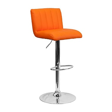 Flash Furniture – Tabouret de bar à hauteur ajustable en vinyle et à pied chromé, 16 1/2 x 19 1/2 po, orange