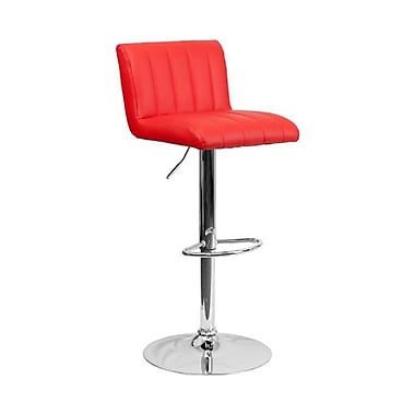 Flash Furniture – Tabouret de bar à hauteur ajustable en vinyle et à pied chromé, 16 1/2 x 19 1/2 po, rouge