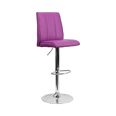 Flash Furniture – Tabouret de bar ajustable en vinyle à dossier mi-dos et à pied chromé, 16 1/4 x 18 3/4 po, violet