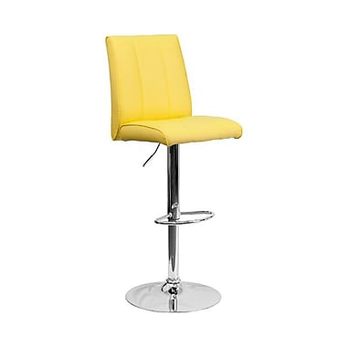 Flash Furniture – Tabouret de bar de 16 1/4 x 18 3/4 po en vinyle avec base chromée, hauteur réglable, jaune