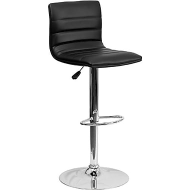 Flash Furniture – Tabouret de bar ajustable en vinyle avec base chromée, 16 x 19 po, noir