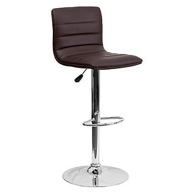 Flash Furniture – Tabouret de bar ajustable en vinyle avec base chromée, 16 x 19 po, brun