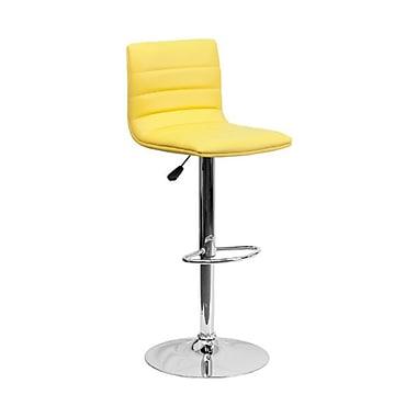Flash Furniture – Tabouret de bar de 16 x 19 po en vinyle avec base chromée, hauteur réglable, jaune