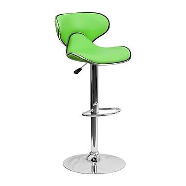 Flash Furniture – Tabouret de bar de 17 1/2 x 17 1/2 po réglable en vinyle à dossier mi-dos confortable avec base chromée, vert