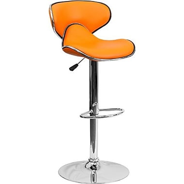 Flash Furniture – Tabouret de bar de 17 1/2 x 17 1/2 po réglable en vinyle à dossier mi-dos confortable, base chromée, orange