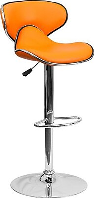 Flash Furniture 43'' Contemporary Adjustable Height Vinyl Bar Stool, Orange (2DS815ORGGG)