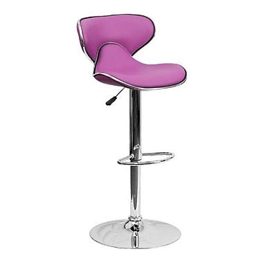 Flash Furniture – Tabouret de bar de 17 1/2 x 17 1/2 po réglable en vinyle à dossier mi-dos confortable, base chromée, violet