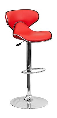 Flash Furniture 43'' Contemporary Adjustable Height Vinyl Bar Stool, Red (2DS815REDGG)
