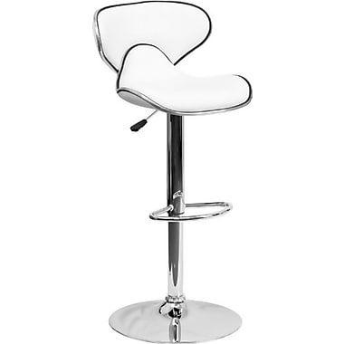 Flash Furniture – Tabouret de bar ajustable en vinyle, dossier mi-dos confortable et pied chromé, 17 1/2 x 17 1/2 po, blanc