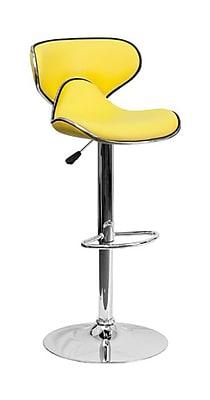 Flash Furniture 43'' Contemporary Adjustable Height Vinyl Bar Stool, Yellow (2DS815YELGG)
