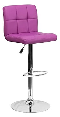 "Flash Furniture 17 1/2"" x 18"" Quilted Vinyl Adjustable Height Bar Stool W/Chrome Base, Purple"